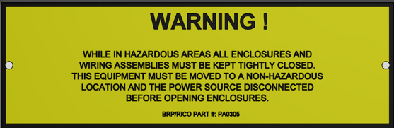 Explosion Proof Electric Parts Warning Label